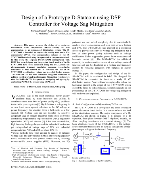 small resolution of  pdf construction of a prototype d statcom for voltage sag mitigation