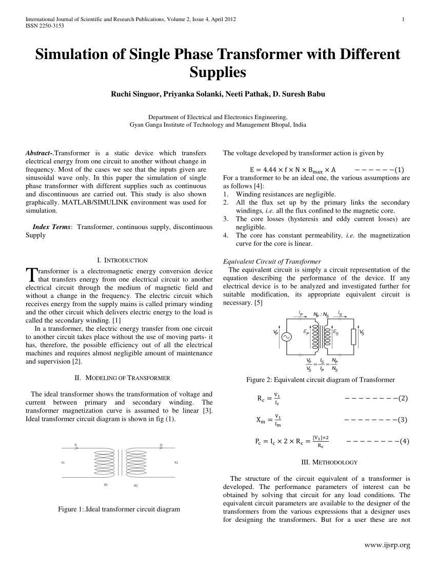 hight resolution of  pdf simulation of single phase transformer with different supplies