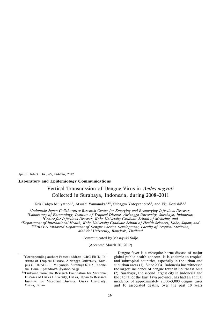 PDF) Vertical Transmission of Dengue Virus in Aedes aegypti ...