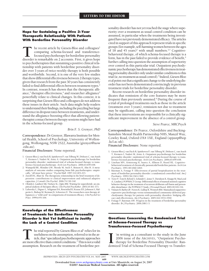 (PDF) Questions Concerning the Randomized Trial of Schema