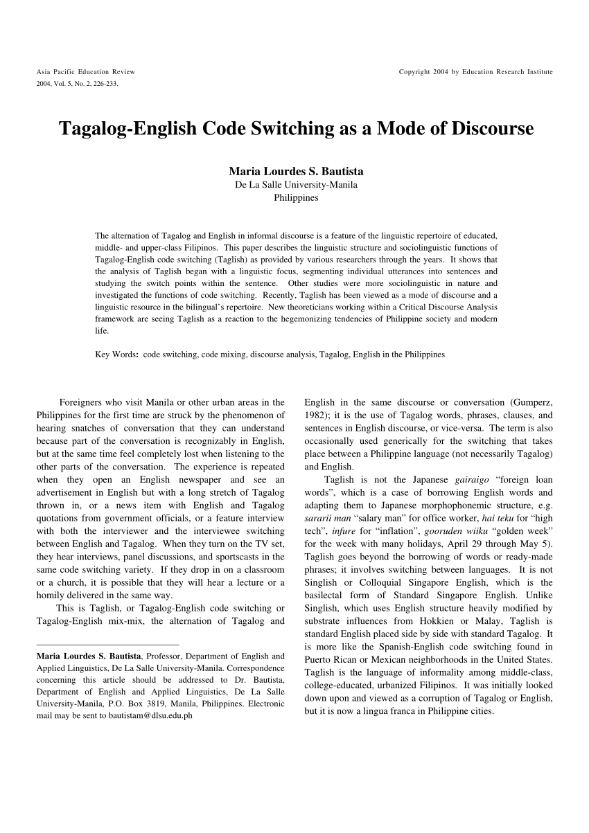 PDF Tagalog English Code Switching As A Mode Of Discourse