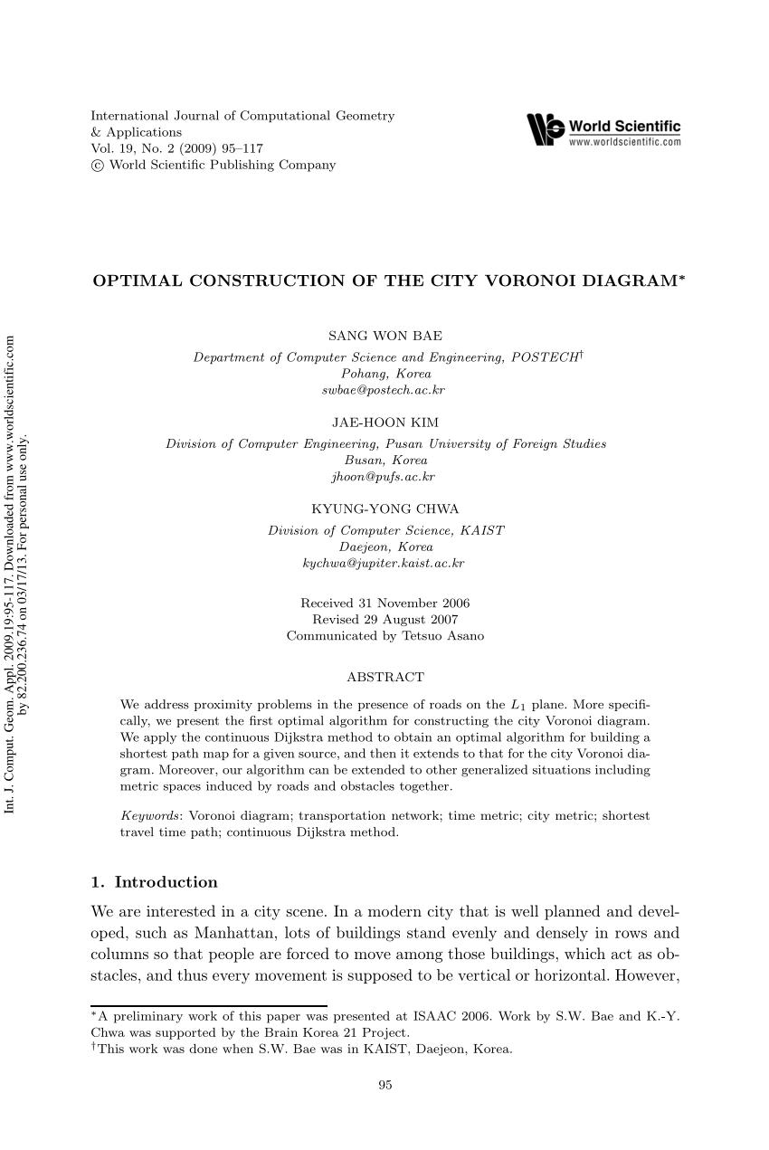 hight resolution of  pdf computing transportation voronoi diagrams in optimal time