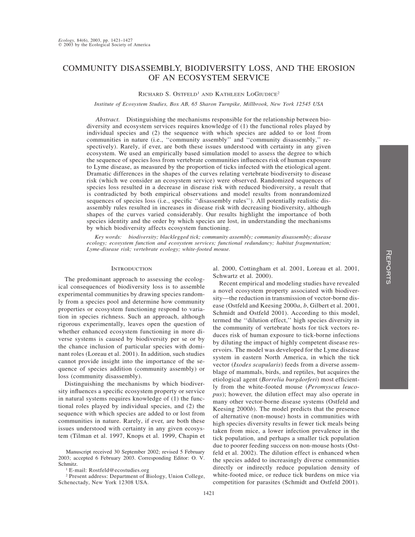 (PDF) Community disassembly, biodiversity loss, and the