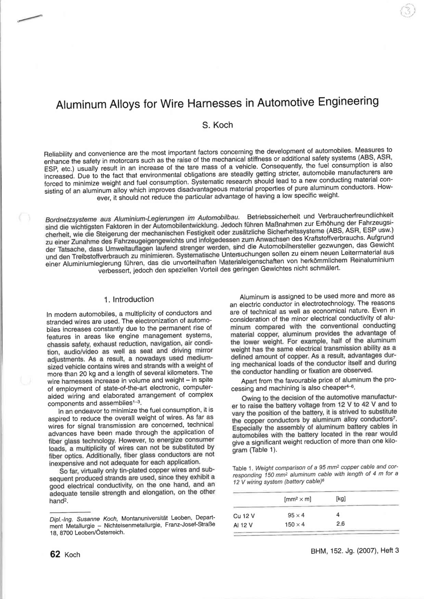 hight resolution of selection criteria for usage of aluminum wires in automobile wiring harness request pdf