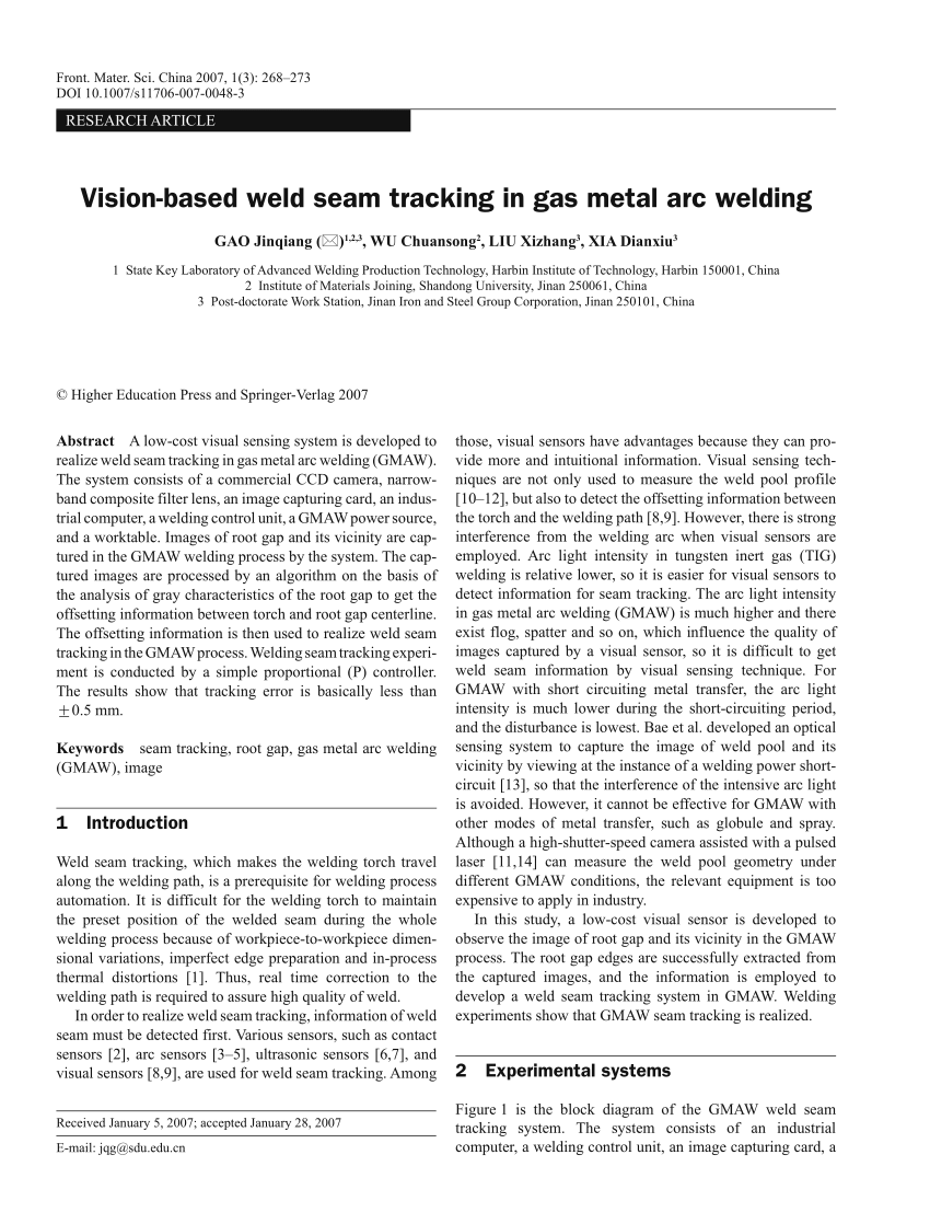 medium resolution of  pdf vision based weld seam tracking in gas metal arc welding