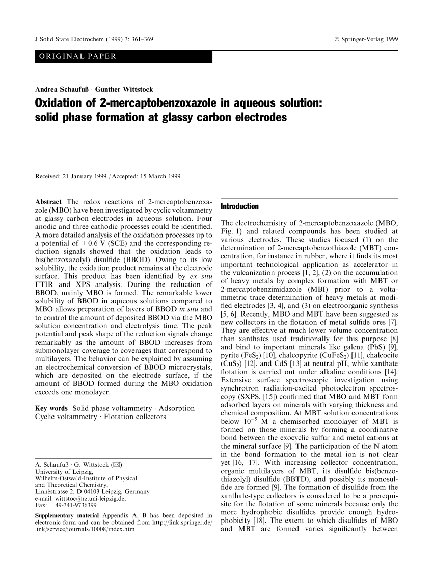 (PDF) Oxidation of 2-mercaptobenzoxazole in aqueous