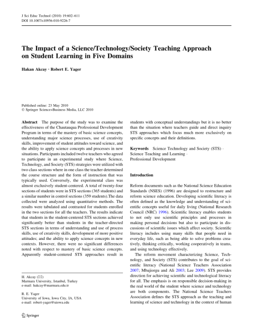 small resolution of PDF) The Impact of a Science/Technology/Society Teaching Approach on  Student Learning in Five Domains