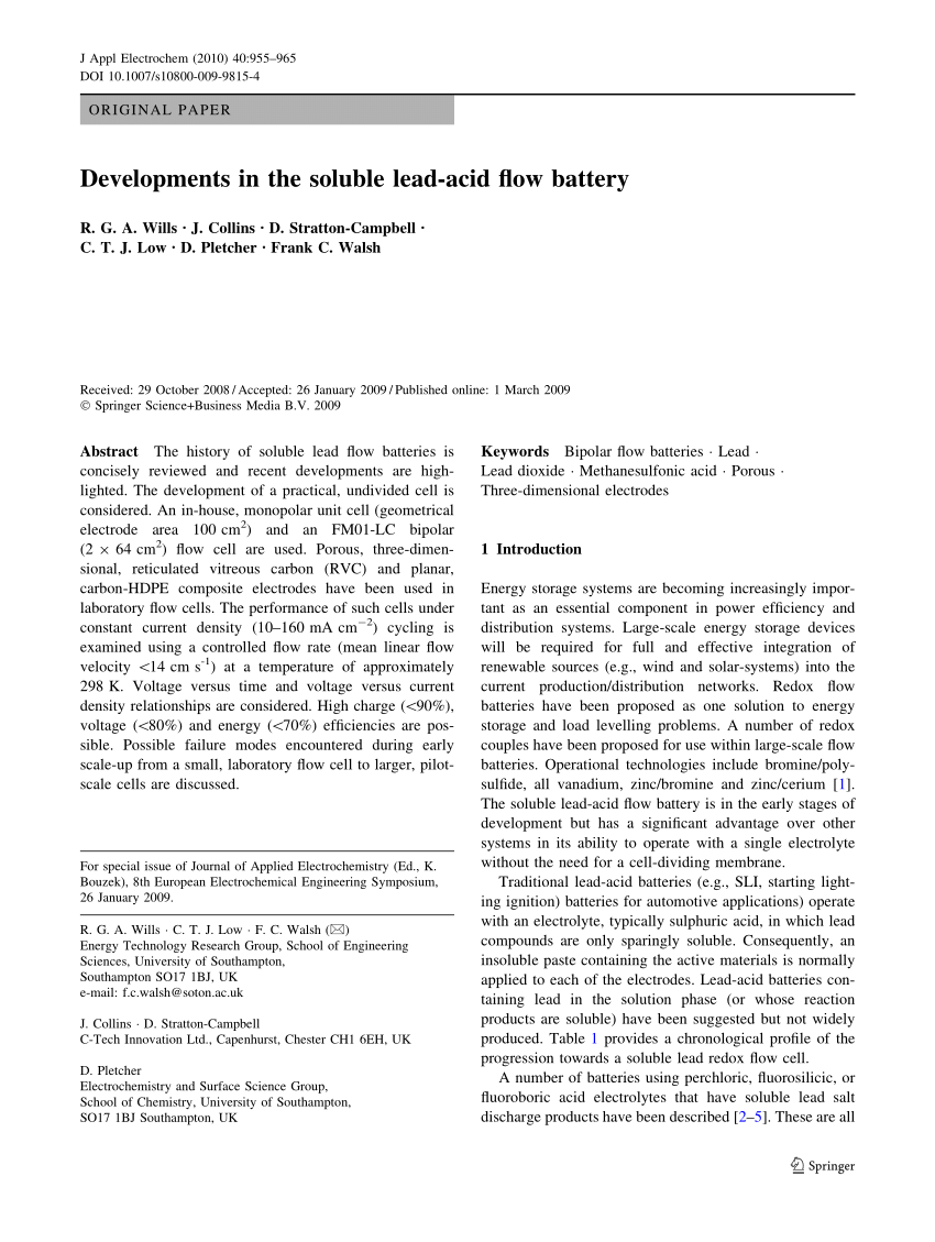 hight resolution of  pdf developments in the soluble lead acid flow battery