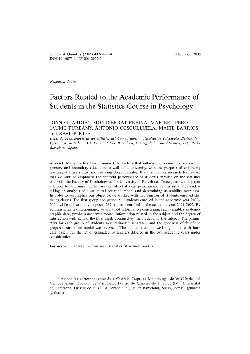 PDF Factors Related To The Academic Performance Of Students In The