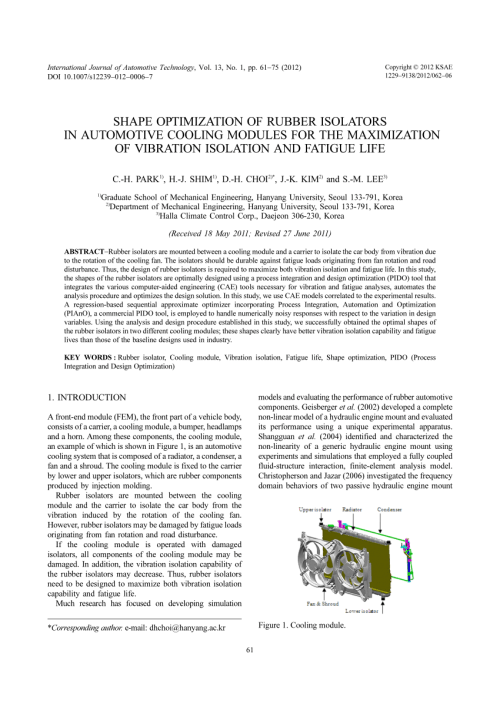 small resolution of  pdf shape optimization of rubber isolators in automotive cooling modules for the maximization of vibration isolation and fatigue life