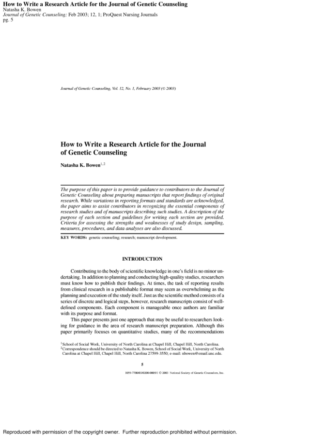 PDF) How to Write a Research Article for the Journal of Genetic