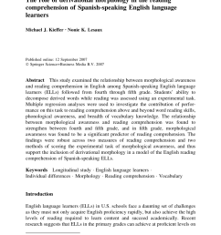 PDF) The role of morphology in the reading comprehension of Spanish-speaking  English Language Learners [ 1290 x 850 Pixel ]