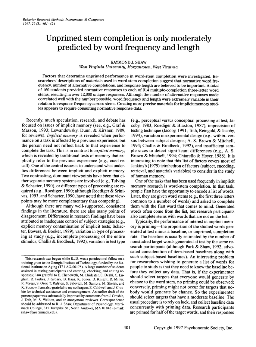 medium resolution of  pdf unprimed stem completion is only moderately predicted by word frequency and length