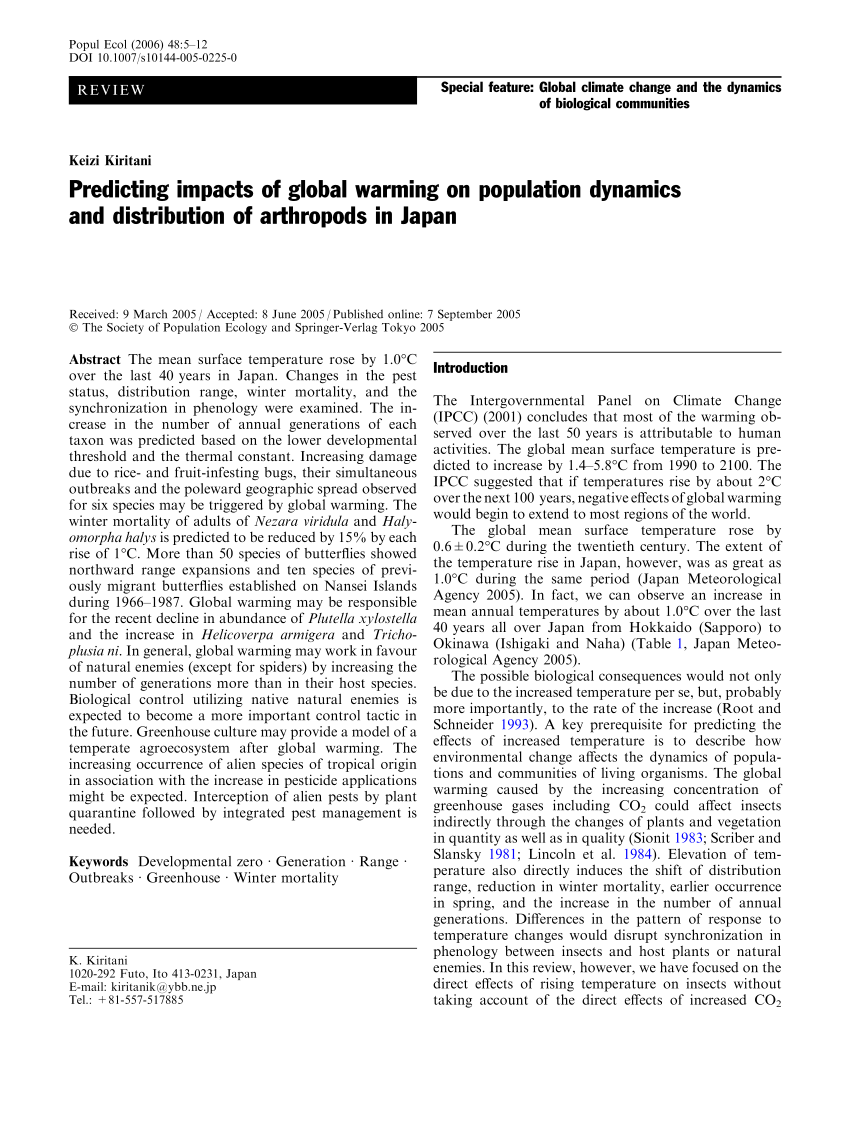 (PDF) Predicting impacts of global warming on population