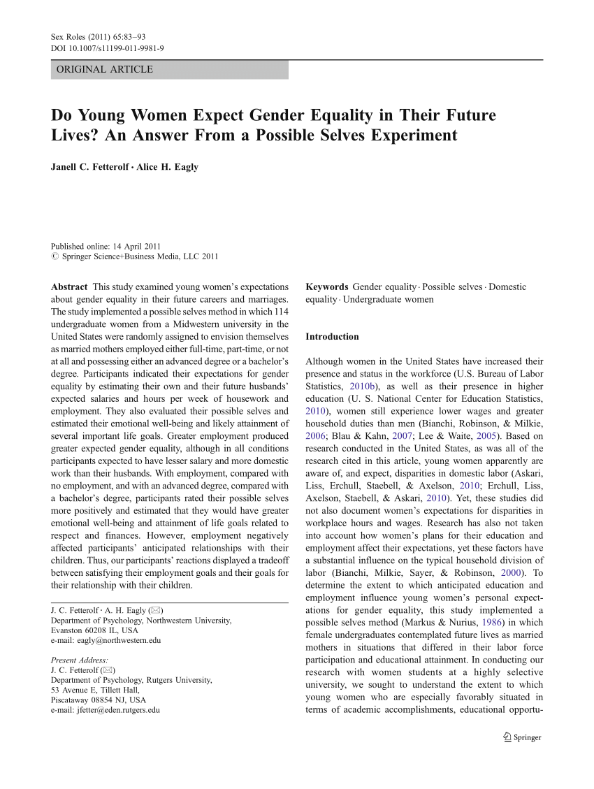 (PDF) Do Young Women Expect Gender Equality in Their Future Lives? An Answer From a Possible Selves Experiment
