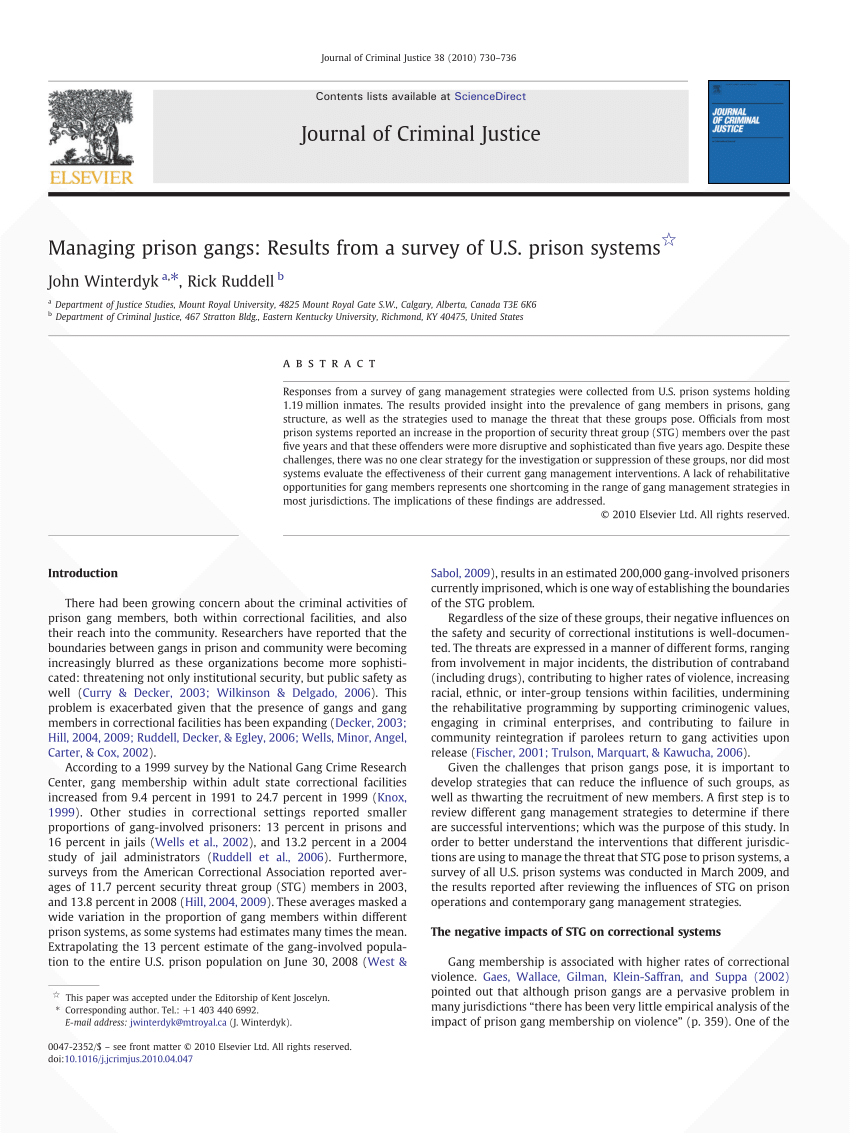 medium resolution of  pdf managing prison gangs results from a survey of u s prison systems