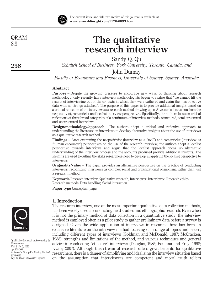 PDF The Qualitative Research Interview