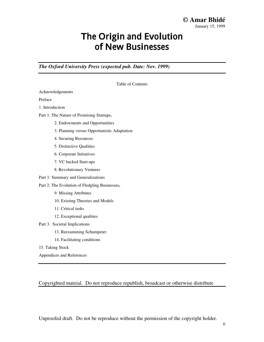 (PDF) The Origins and Evolution of New Businesses