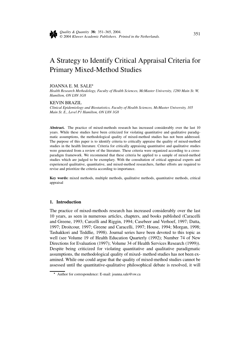 PDF A Strategy To Identify Critical Appraisal Criteria For Primary