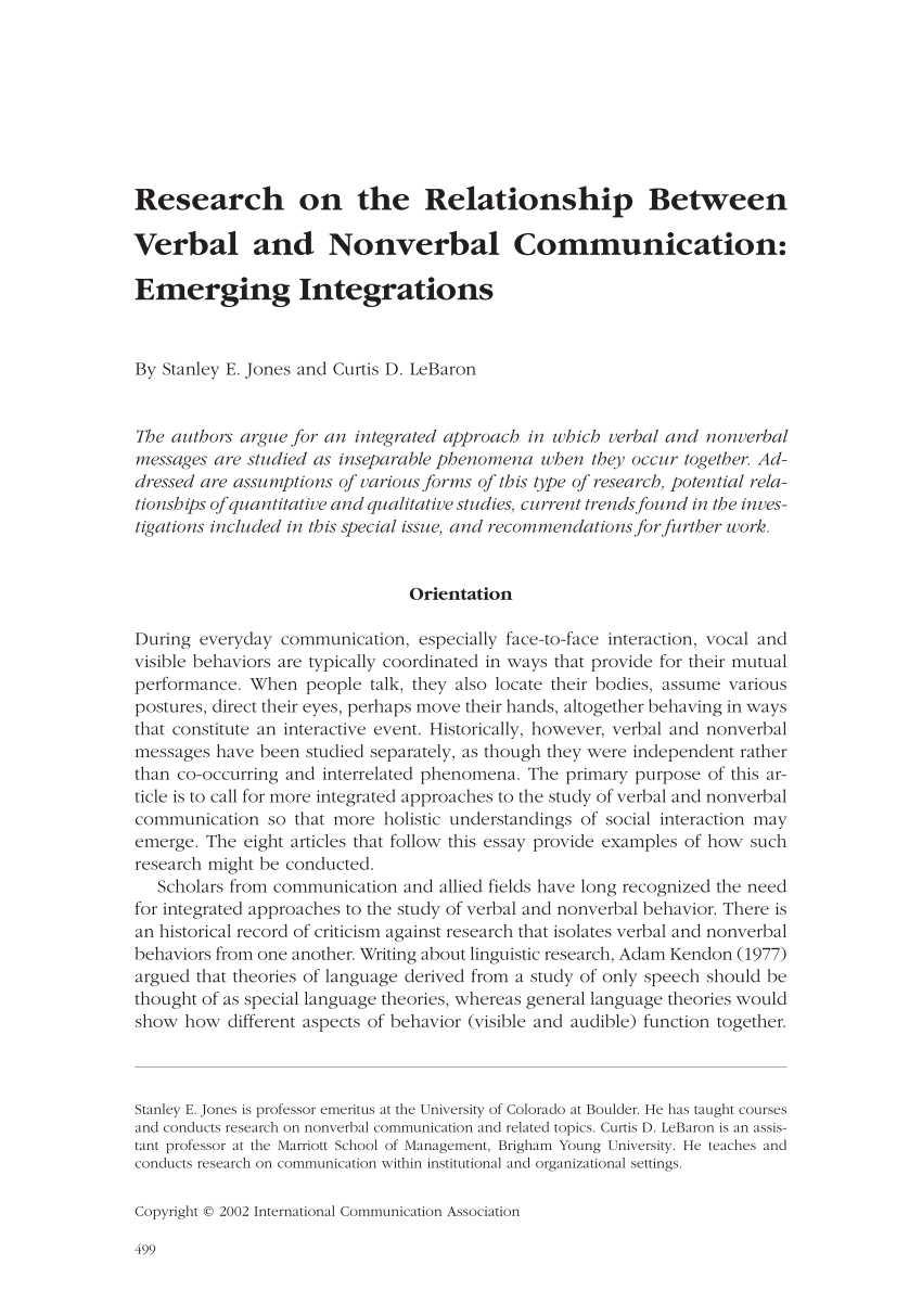 Communication Essay Example Pdf Research On The Relationship Between Verbal And Nonverbal