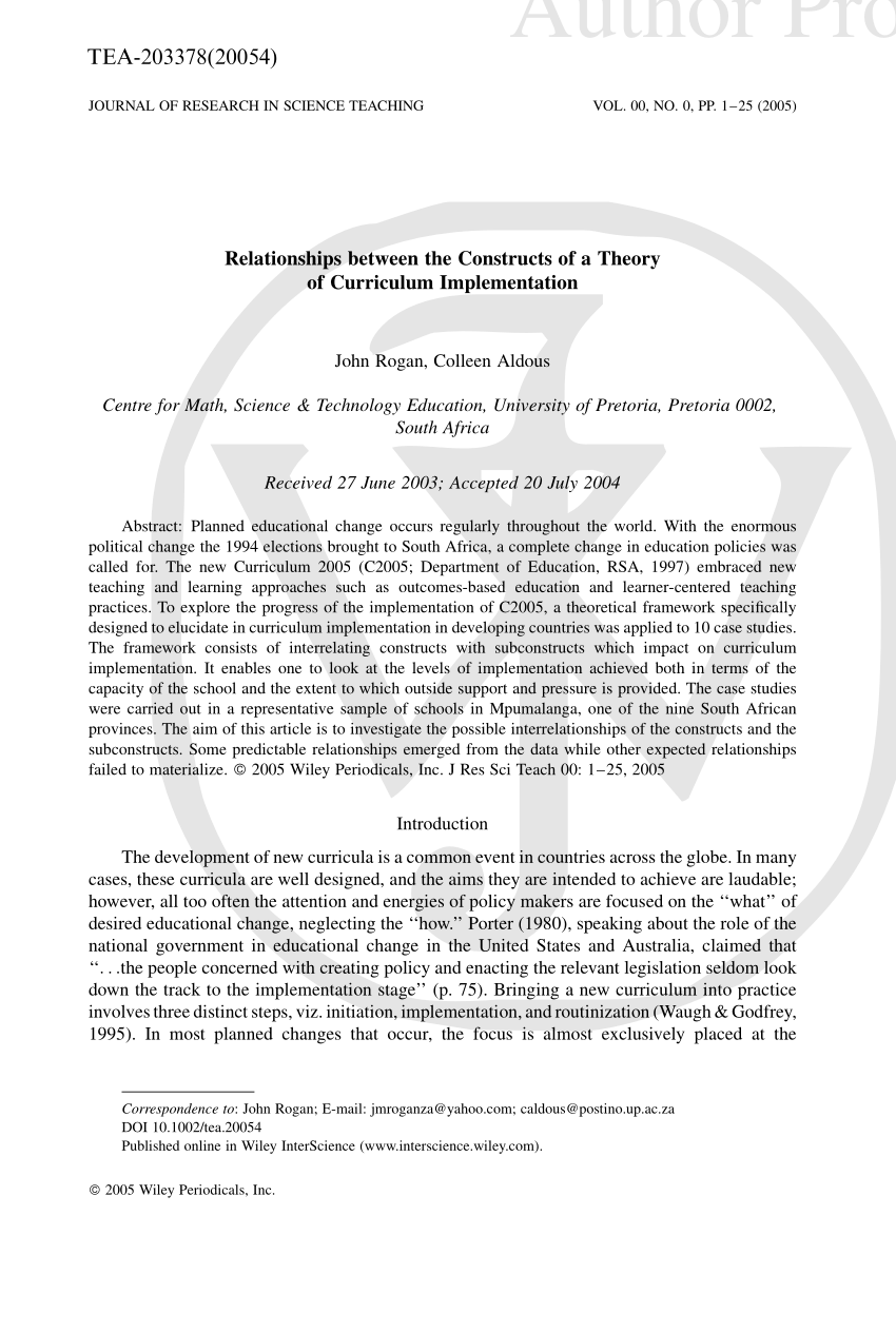 (PDF) Relationships between the constructs of a theory of