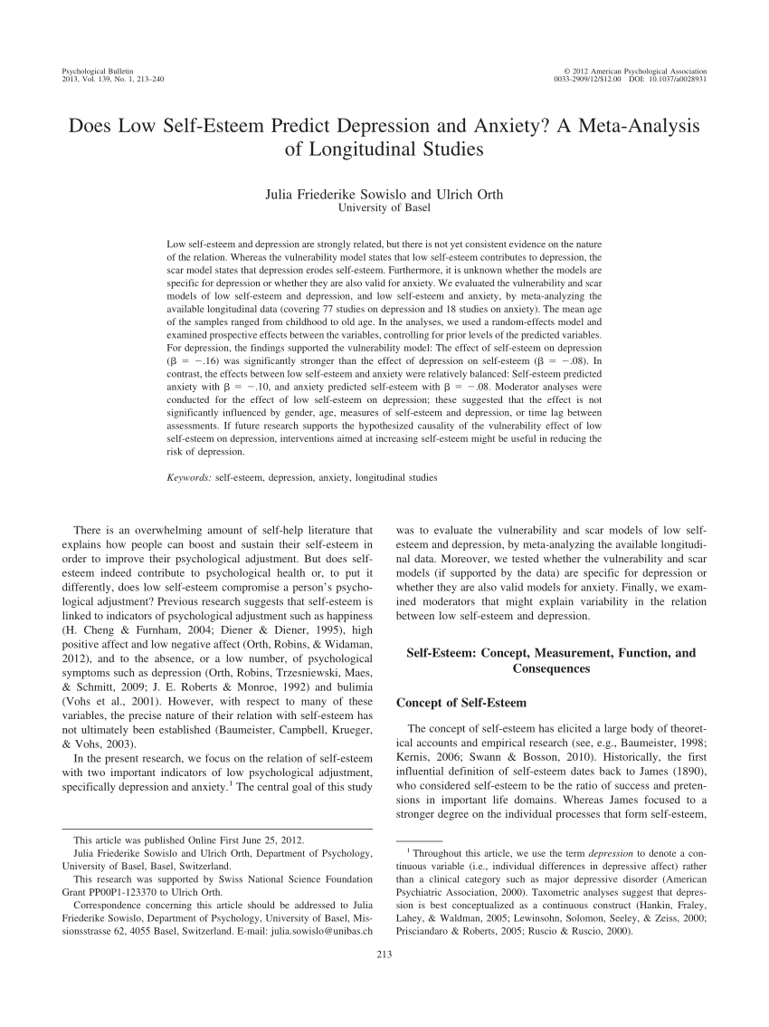 PDF Does Low Self Esteem Predict Depression And Anxiety? A Meta