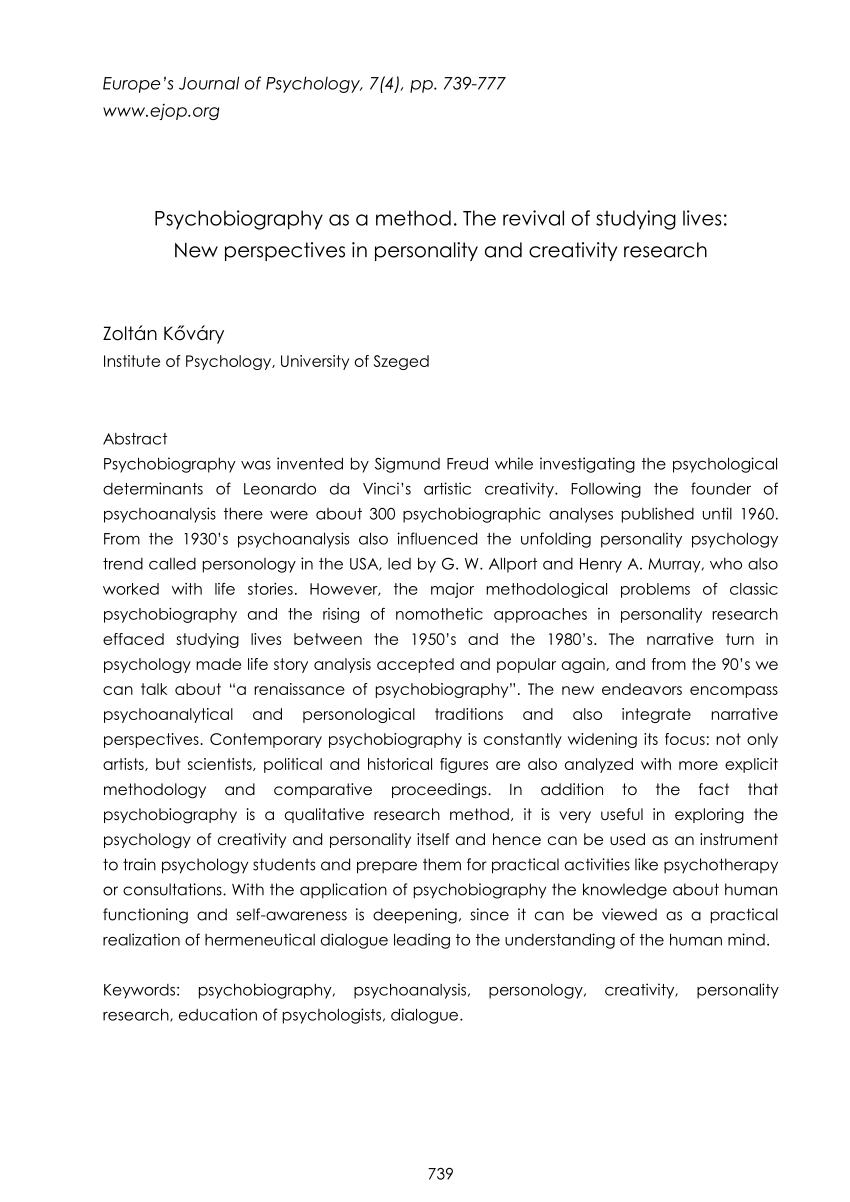 PDF Psychobiography as a method