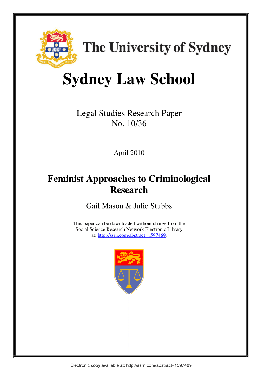 Feminist Approaches To Criminological PDF Download Available