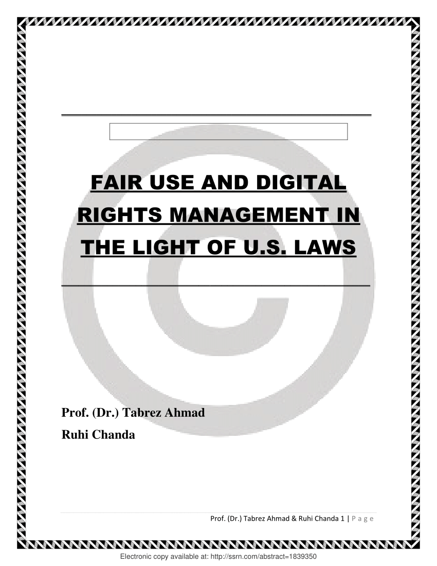 (PDF) Fair Use and Digital Rights Management in the Light
