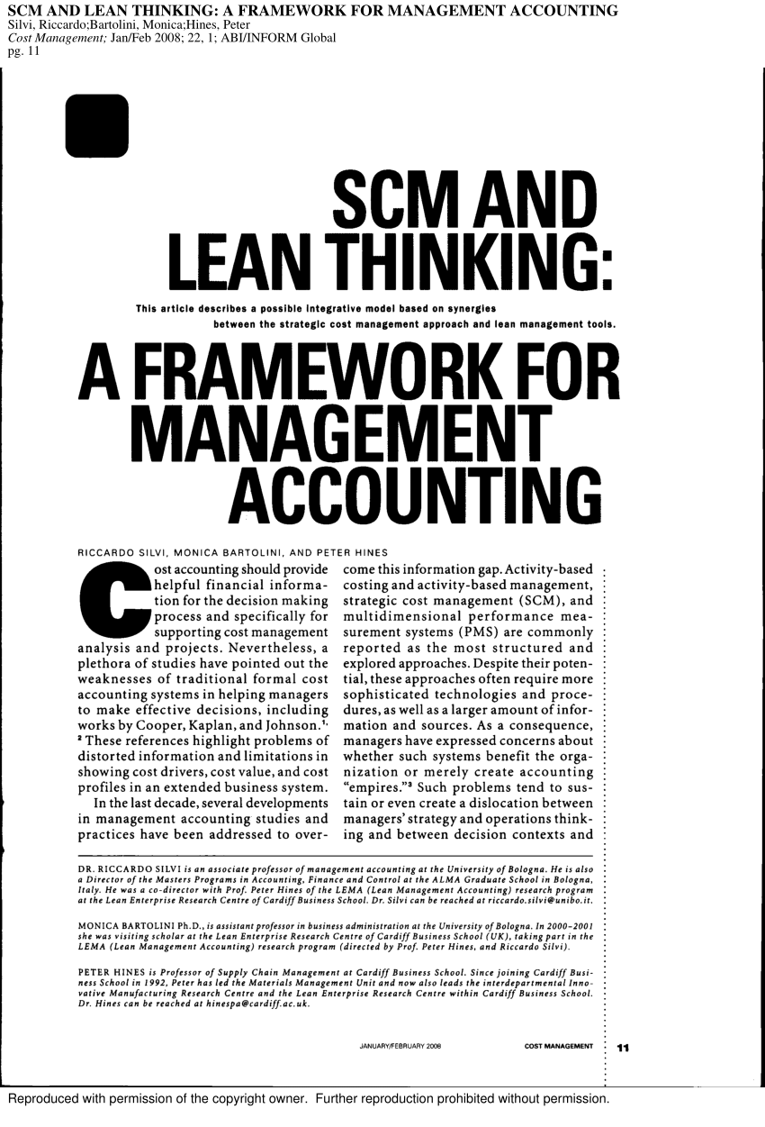 (PDF) Strategic Cost Management and Lean Thinking: A