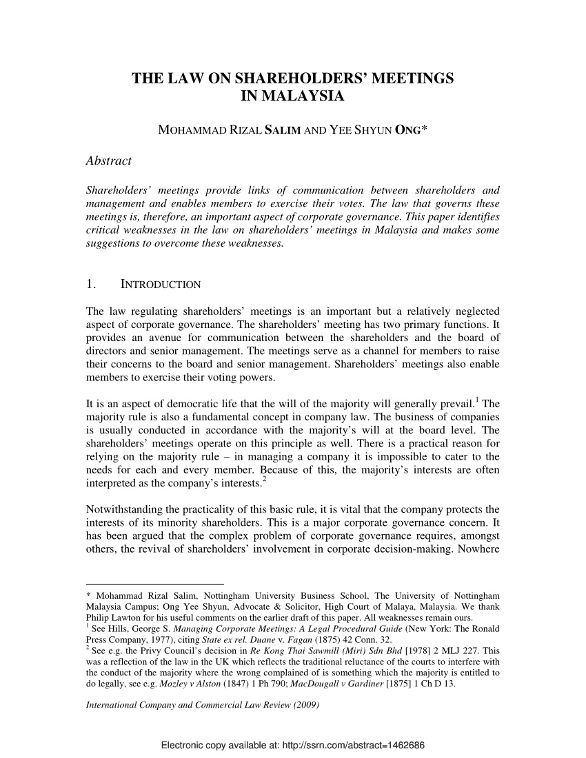 PDF The Law On Shareholders' Meetings In Malaysia