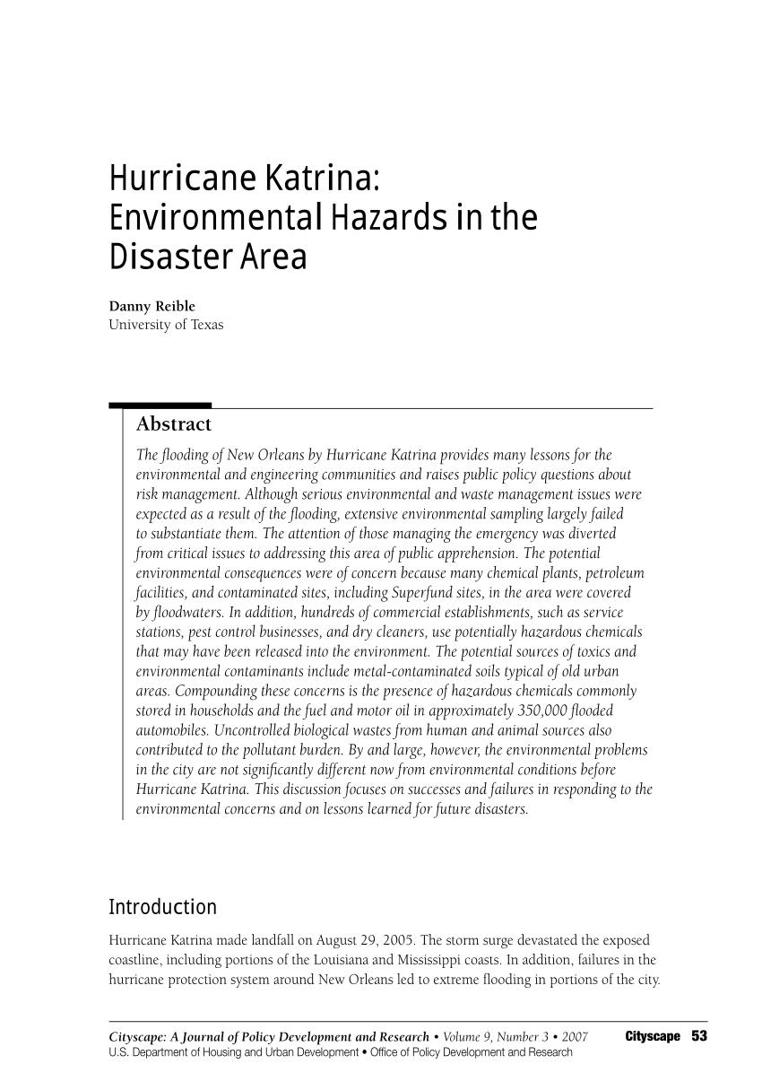 PDF Hurricane Katrina Environmental Hazards In The