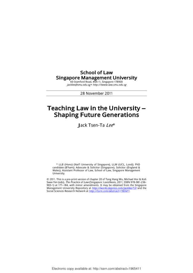 PDF) Teaching Law in the University – Shaping Future Generations