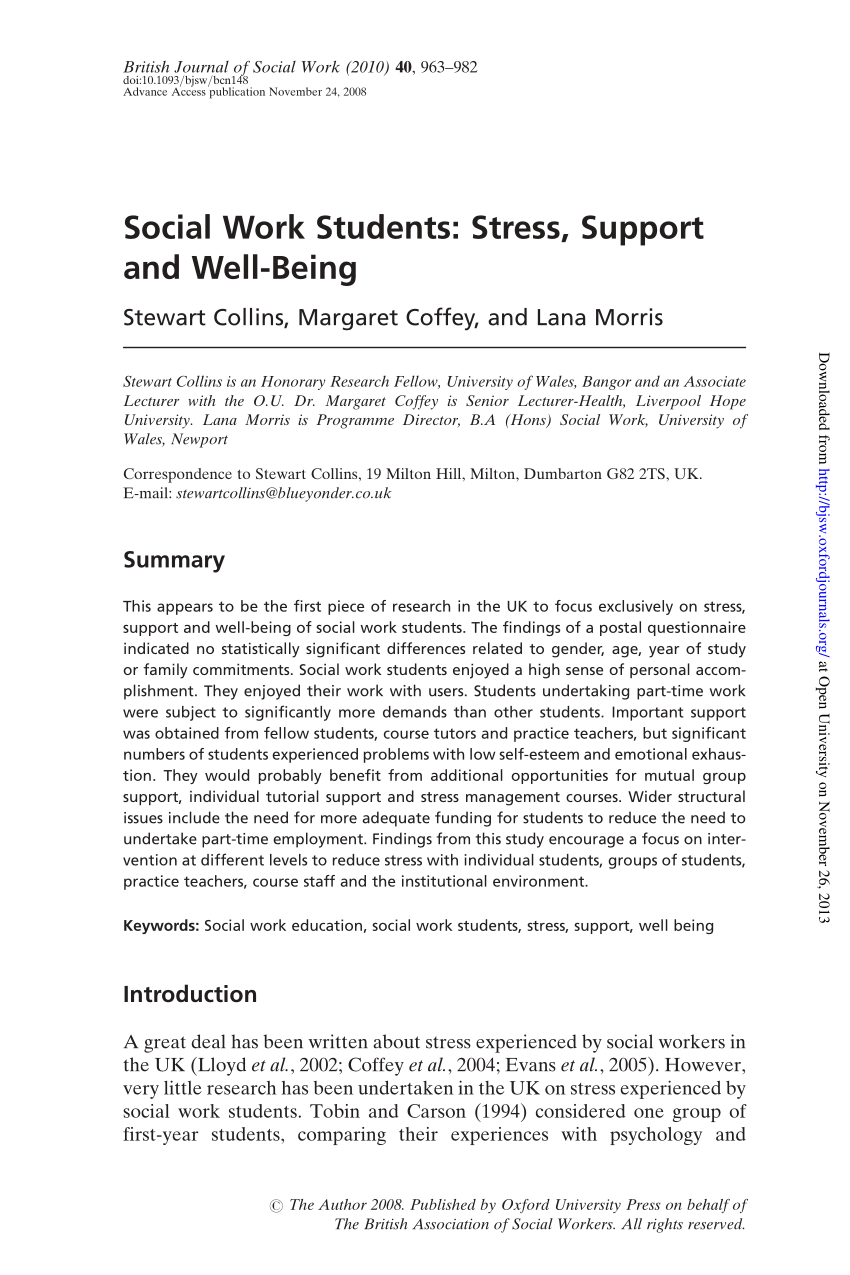 PDF Social Work Students Stress Support And Well Being