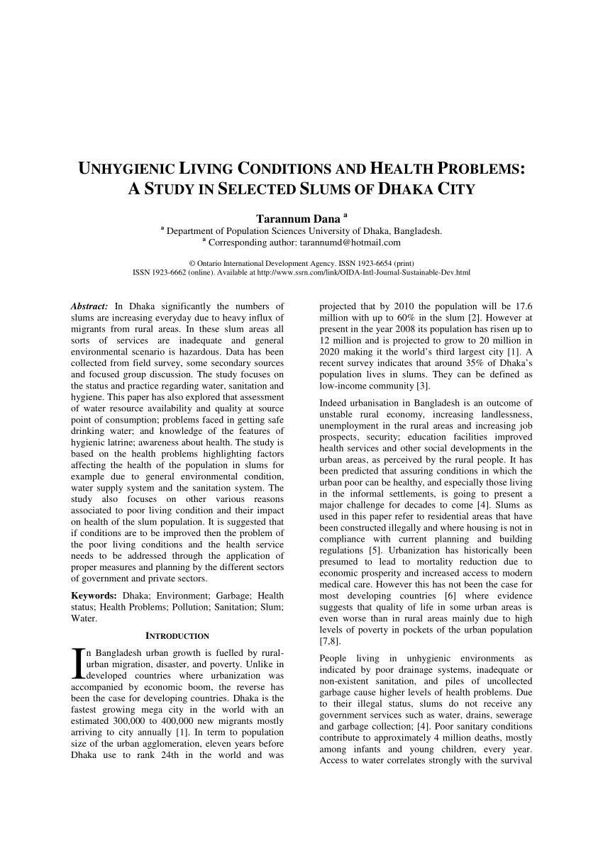 PDF Unhygienic Living Conditions and Health Problems A