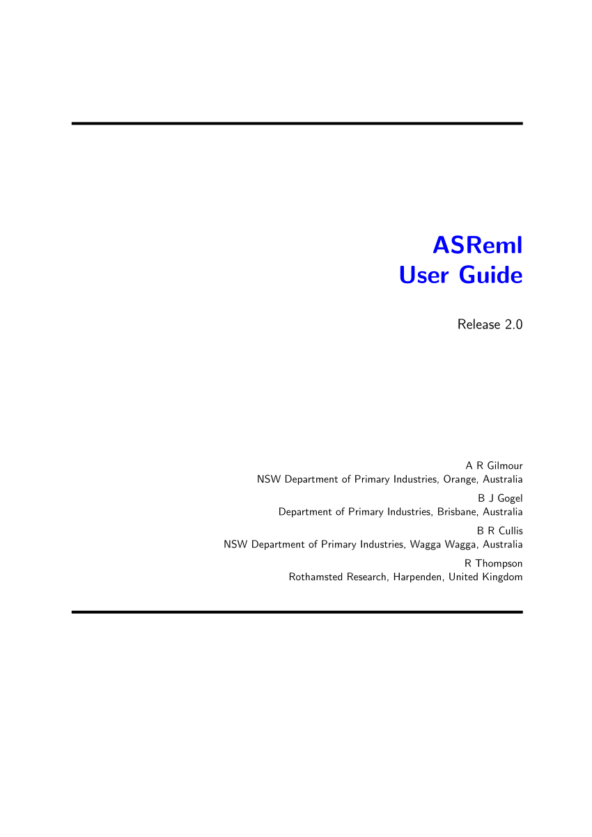 (PDF) ASReml user guide release 2.0