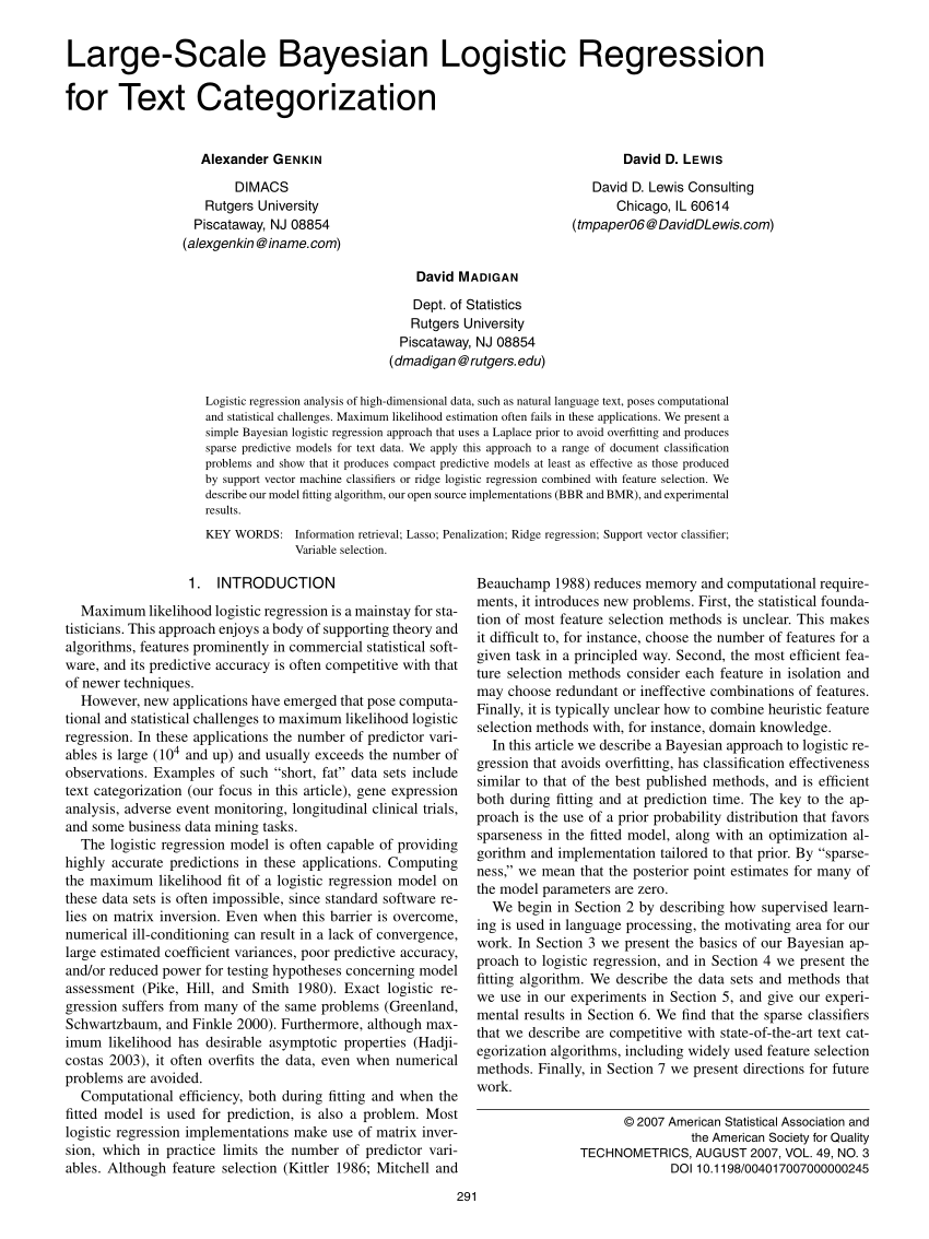 (PDF) Large-Scale Bayesian Logistic Regression for Text Categorization