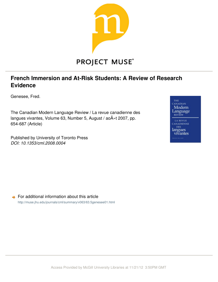 hight resolution of PDF) French Immersion and At-Risk Students: A Review of Research Evidence