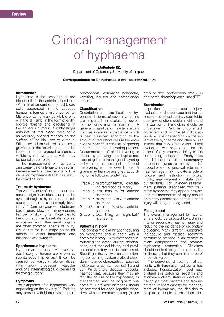 (PDF) Clinical management of hyphaema
