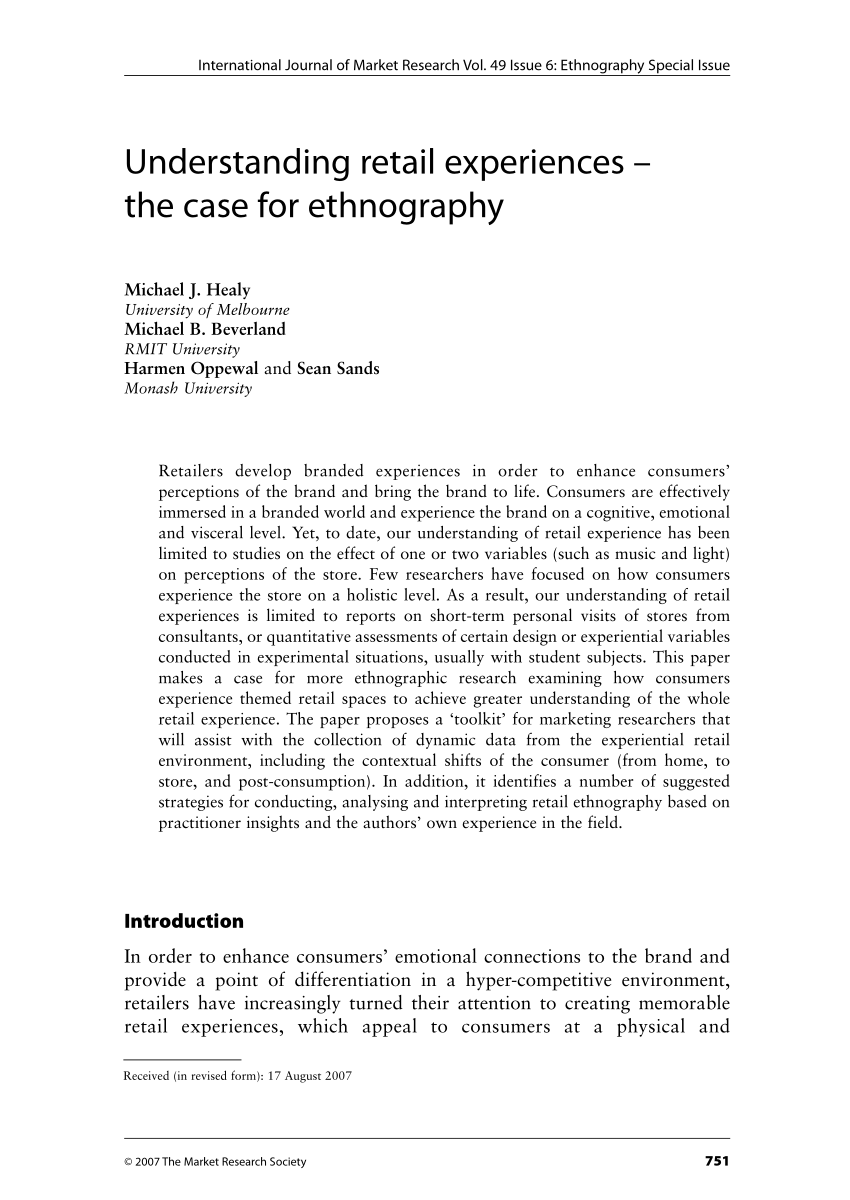PDF Understanding Retail Experiences The Case For Ethnography