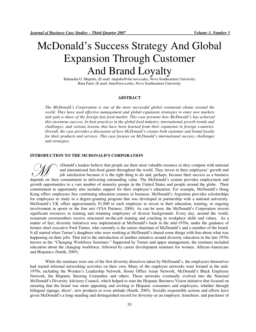 PDF McDonald's Success Strategy And Global Expansion