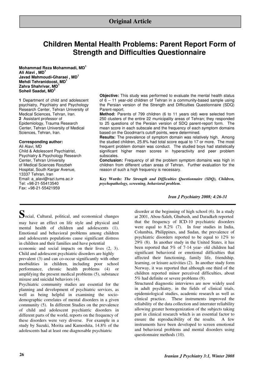 (PDF) Children Mental Health Problems: Parent Report Form