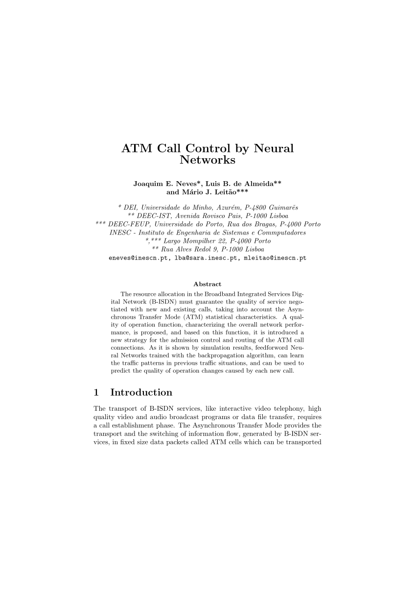medium resolution of  pdf b isdn connection admission control and routing strategy with traffic prediction by neural networks