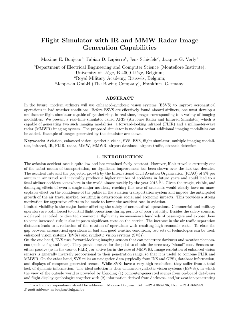 Flight Simulator With IR And MMW Radar PDF Download Available