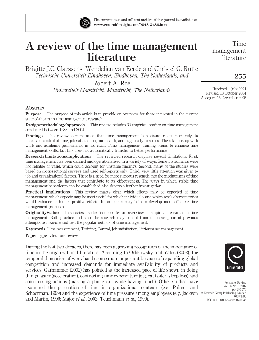 PDF A Review Of Time Management Literature