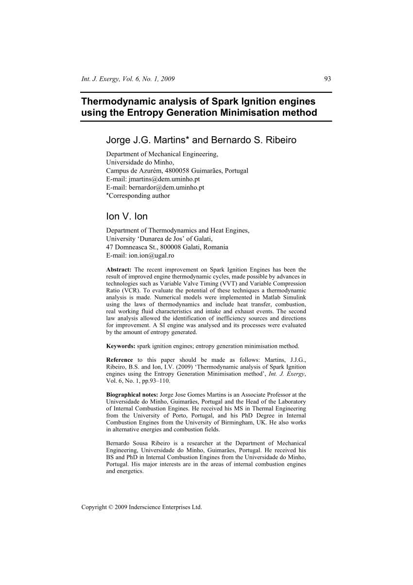 hight resolution of  pdf thermodynamic analysis of spark ignition engines using the entropy generation minimisation method