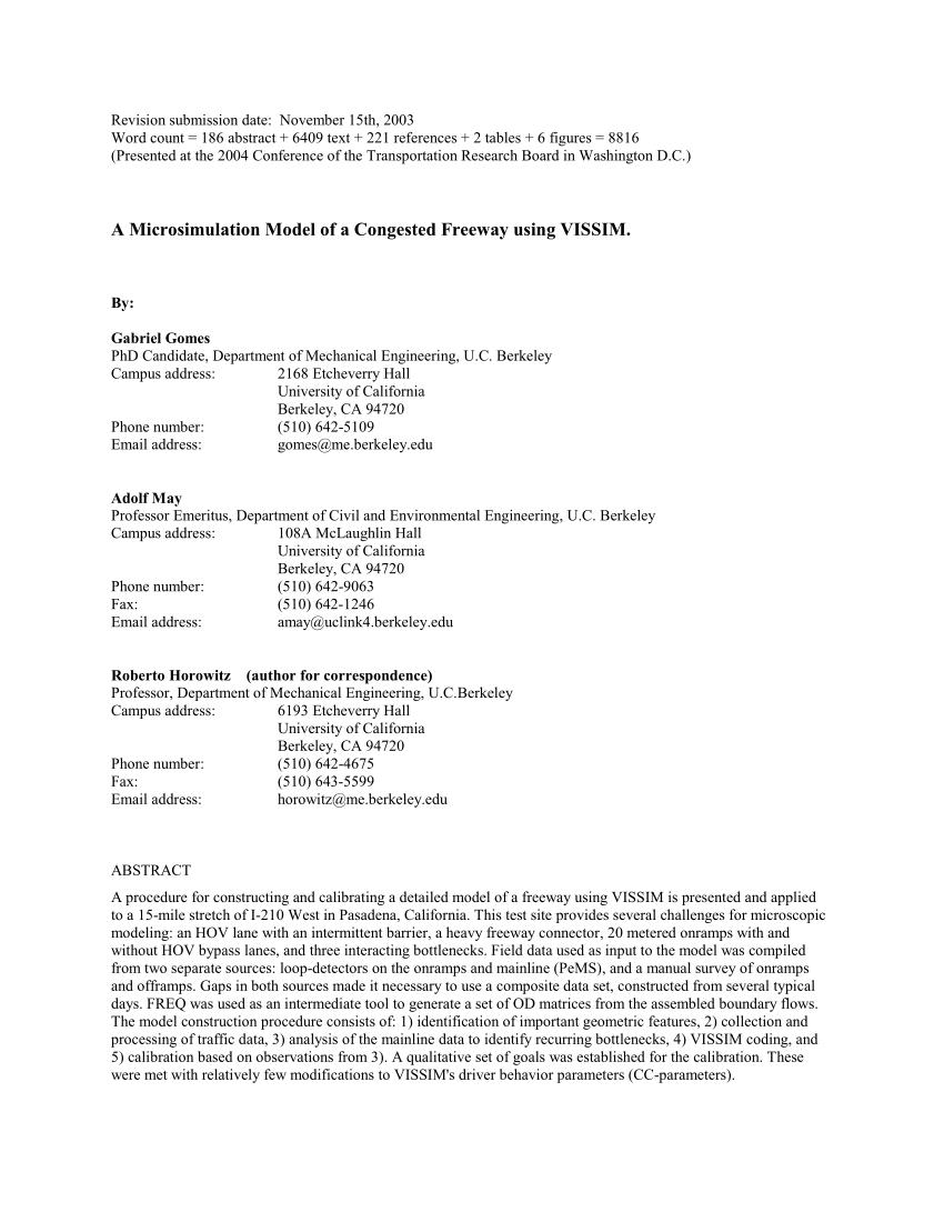 (PDF) Congested freeway microsimulation model using VISSIM