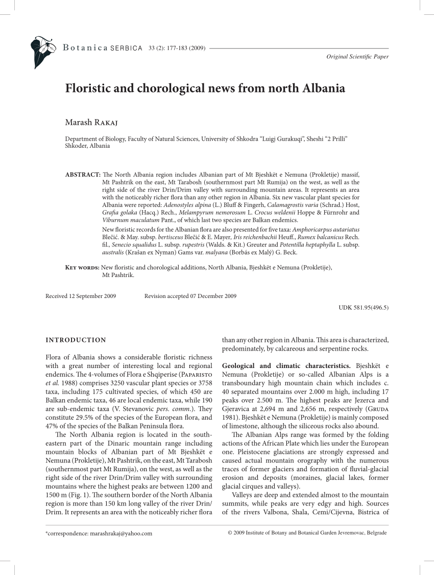 Pdf Floristic And Chorological News From North Albania