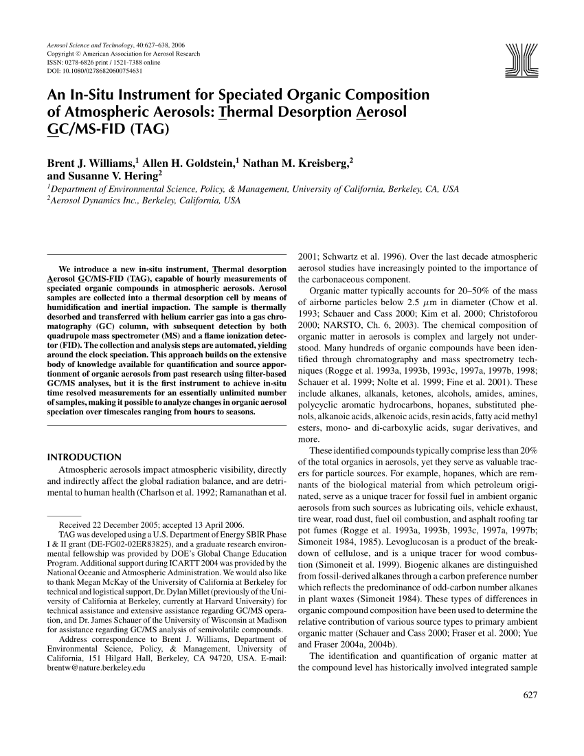 hight resolution of  pdf an in situ instrument for speciated organic composition of atmospheric aerosols t hermal desorption a erosol g c ms fid tag