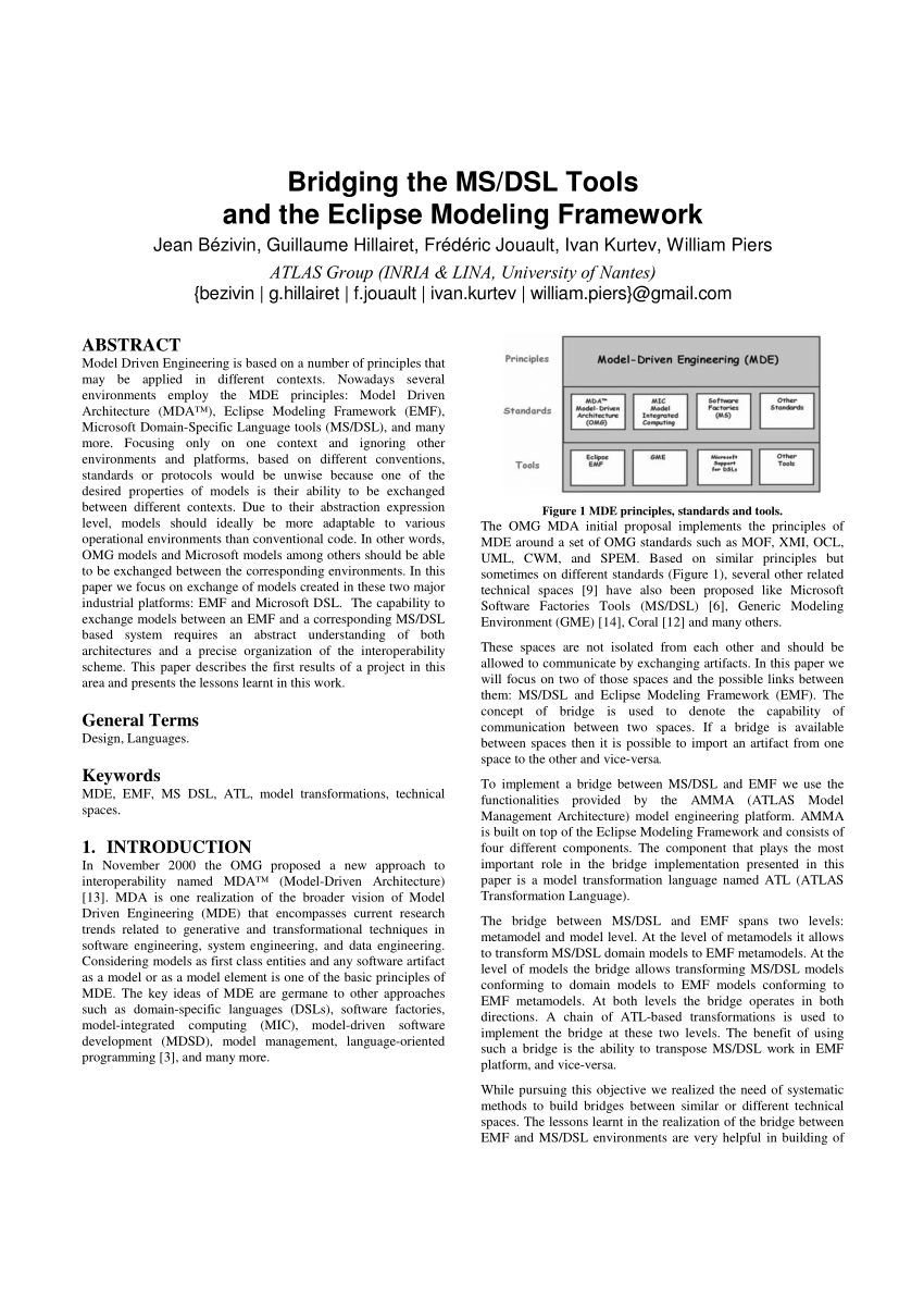 hight resolution of  pdf bridging the ms dsl tools and the eclipse modeling framework